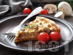 Гъбен пирог с яйца, прясно мляко и бекон - снимка на рецептата